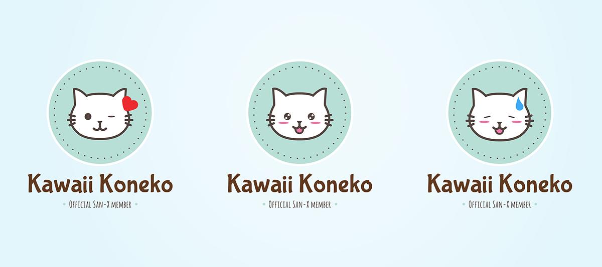 Logo Kawaii Koneko, blij, schattig
