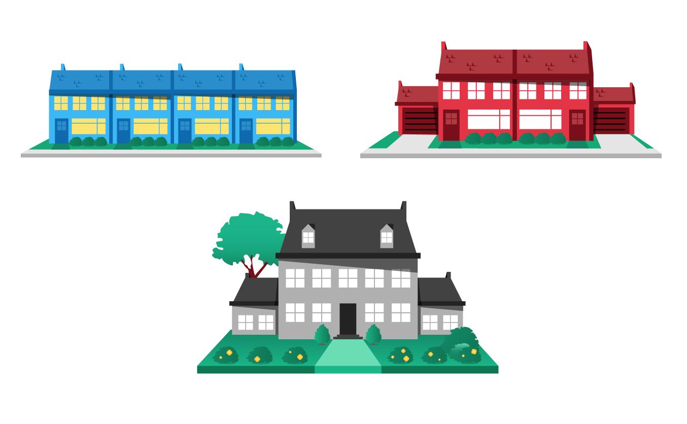 werken aan je toekomst - florian tv network - illustratie huizen